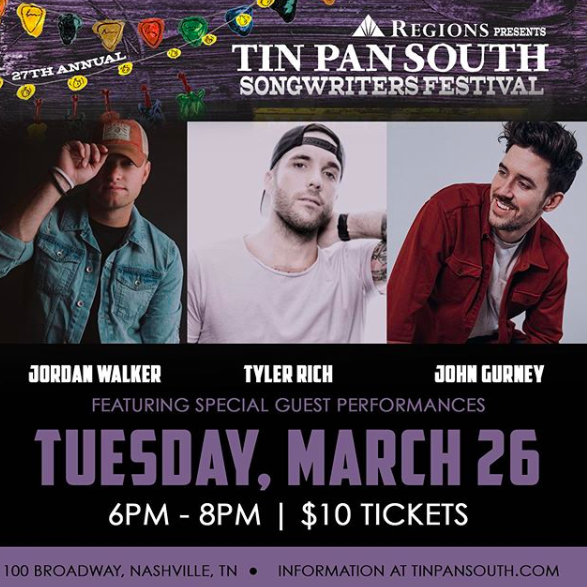 Tin Pan South Night One: Jordan Walker, Tyler Rich, John Gurney, and Adam Doleac